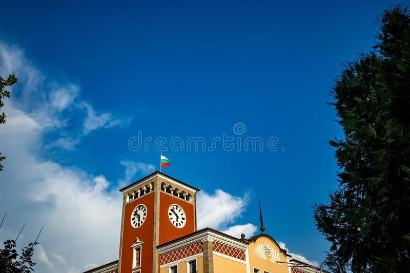 The top of the townhall royalty free stock photo