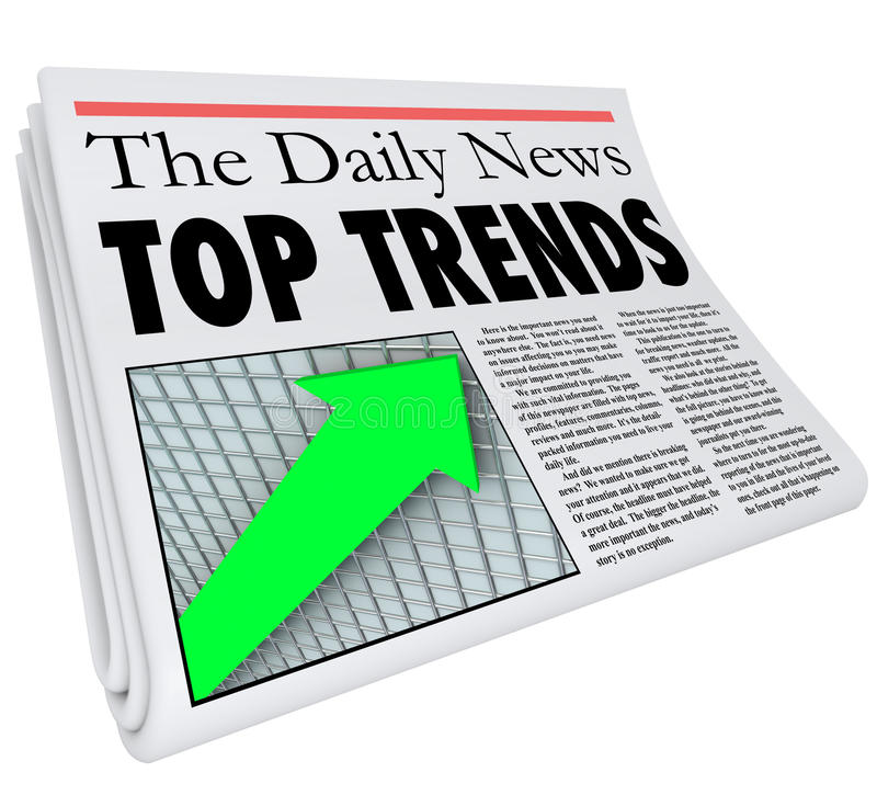 Top Trends Newspaper Headline Story Article Report Popular Products. Top Trends newspaper headline, story, update and article about popular products, events, or royalty free illustration