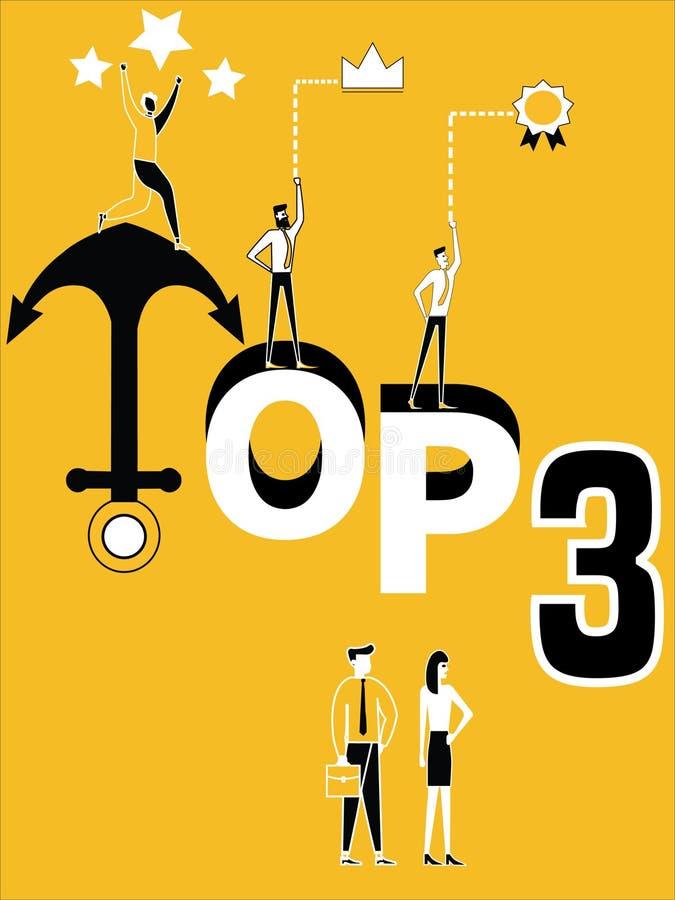 Top tres del concepto de la palabra y gente que hace actividades libre illustration
