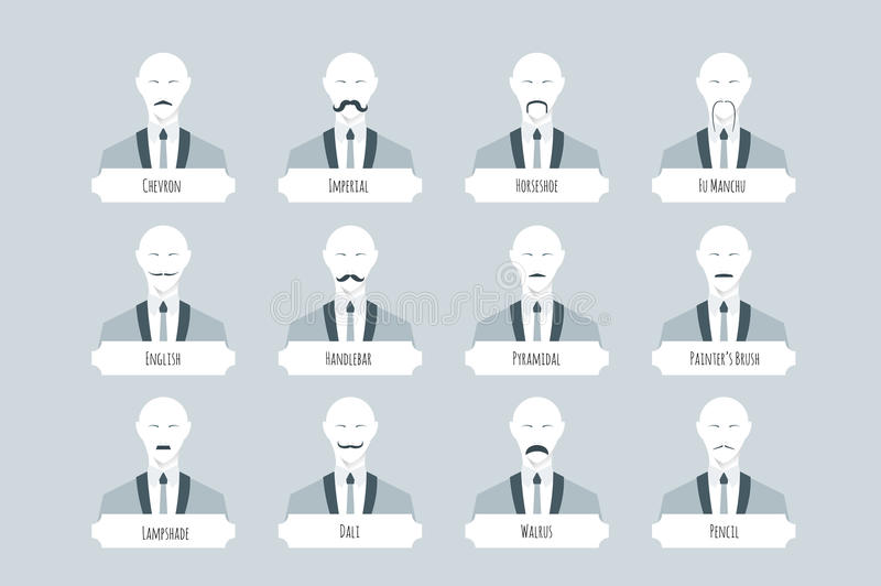 Top 12 types of mustache styles, shape, density, and styling. Old fashioned flat vector avatars with abstract whiskered people in solid suit royalty free illustration