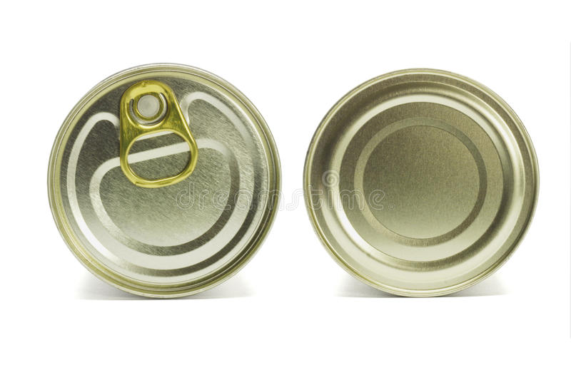 Top and under sides of tin can. Close up top and under sides of tin can on white background stock photo