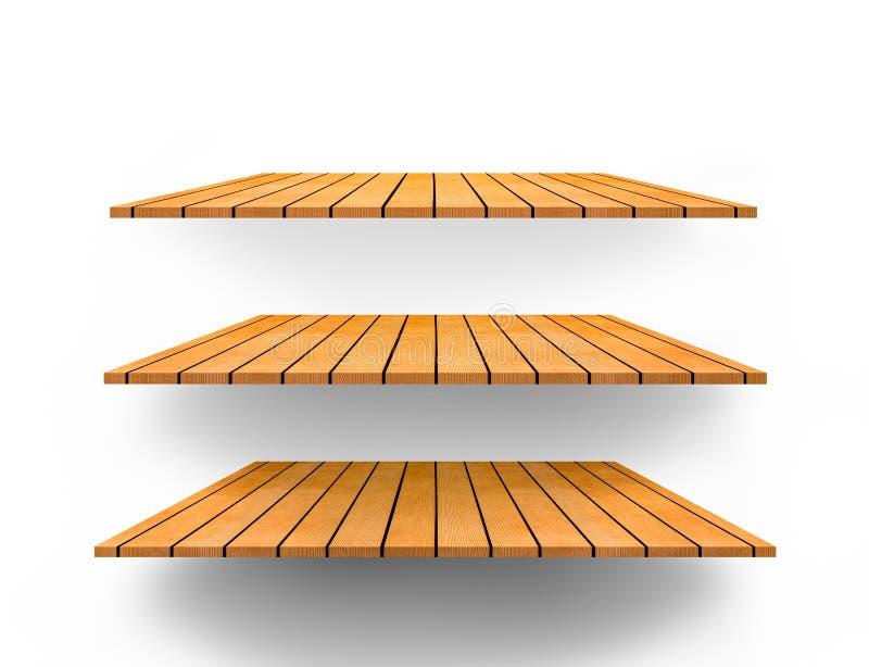 Top vacío de 3 estantes del estante de madera o contador aislado en b blanco libre illustration
