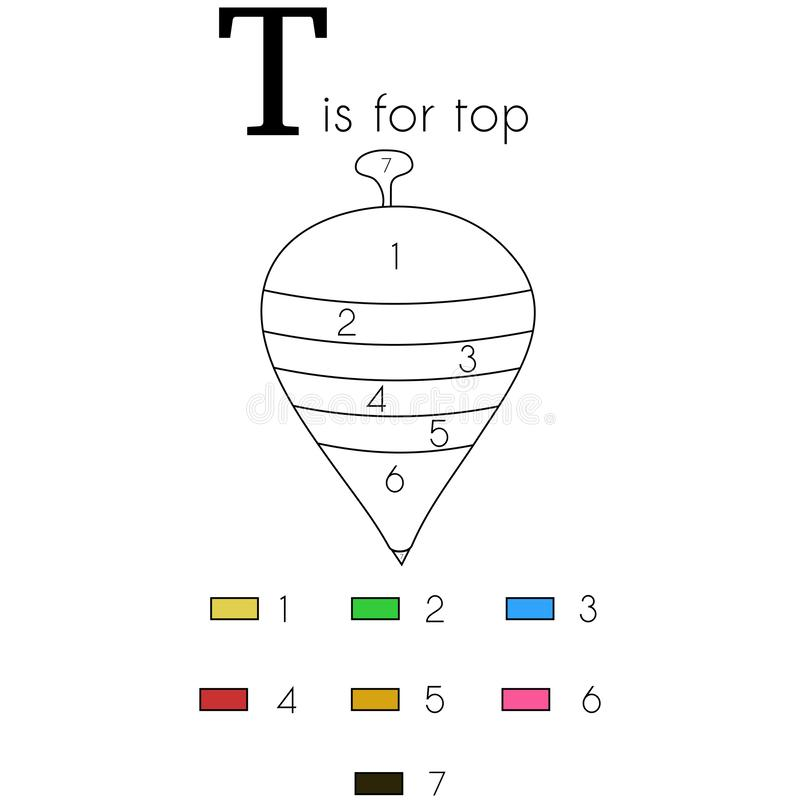 Top. Vector alphabet letter T, colouring page. Vector alphabet letter T for children education with funny numbering colouring page. This illustration can be used stock illustration