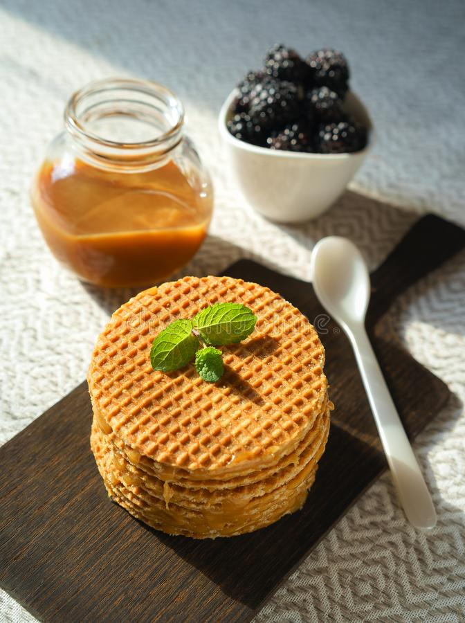 Delicious Belgian Dutch waffle cookies with mint on wooden board caramel sauce bowl of blackberries and spoon on natural color stock photography