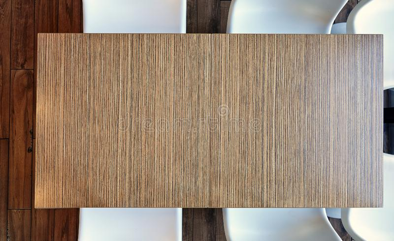 Top view from above on a empty office wooden table stock photo