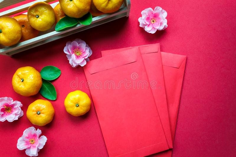 Top view accessories Chinese new year festival decorations. royalty free stock photography