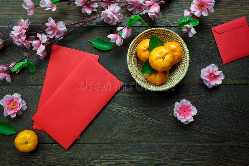 Top view accessories Chinese new year festival decorations royalty free stock photos