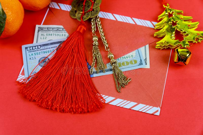 Top view accessories Chinese new year festival decorations on red background stock photography
