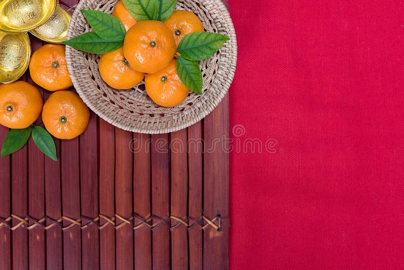 Top view accessories Chinese new year festival,leaf,wood basket,red packet royalty free stock images