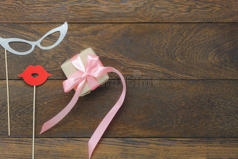 Top view aerial image of decoration Happy mothers day holiday or birthday party background concept stock photo