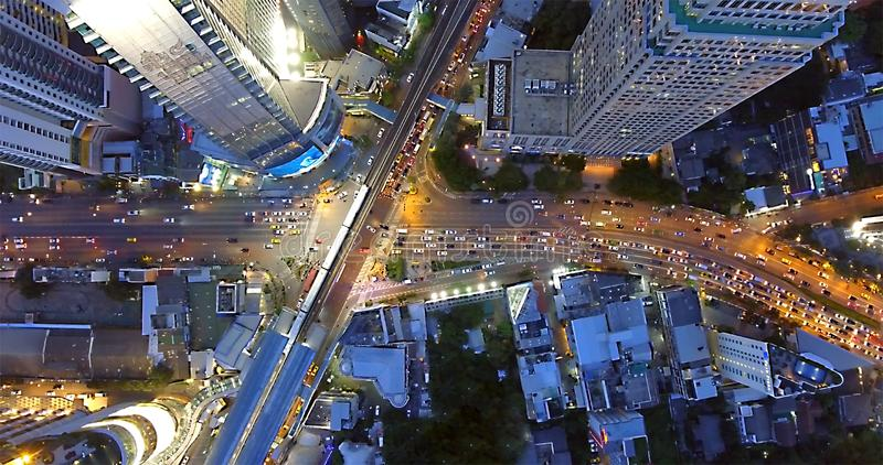 Top view aerial photo from flying drone on cityscape transportation route and road stock photography