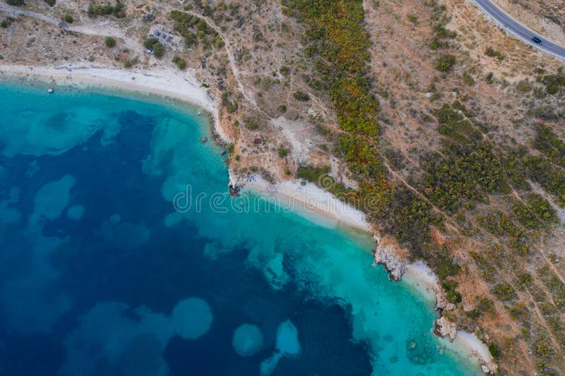 Top view aerial photo of ocean seashore with beautiful color from flying drone. Wonderful seascape with copy space for advertising royalty free stock photos