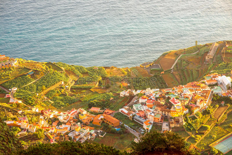 Top view on Agulo coastal village in Spain royalty free stock photo