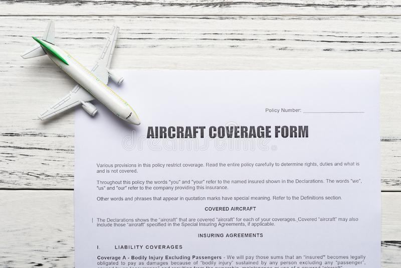 Aircraft Insurance Application And An Airplane Model Concept Of Travel  Insurance Stock Image - Image of airplane, aviation: 134766443