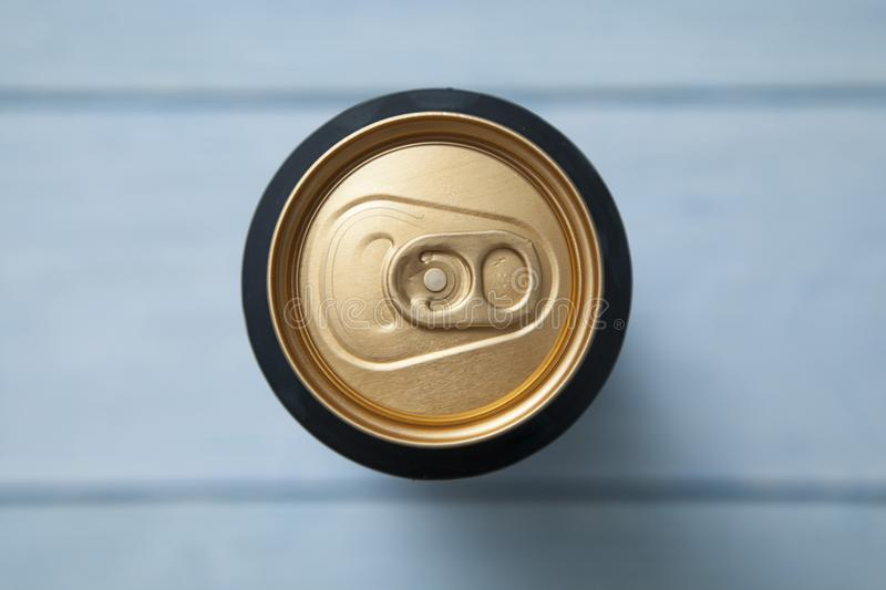 Top view of the aluminum can with a drink. The picture shows a top view of the aluminum can with a drink stock photography