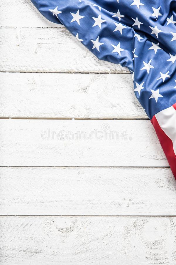Top of view American flag on white wooden table stock photography