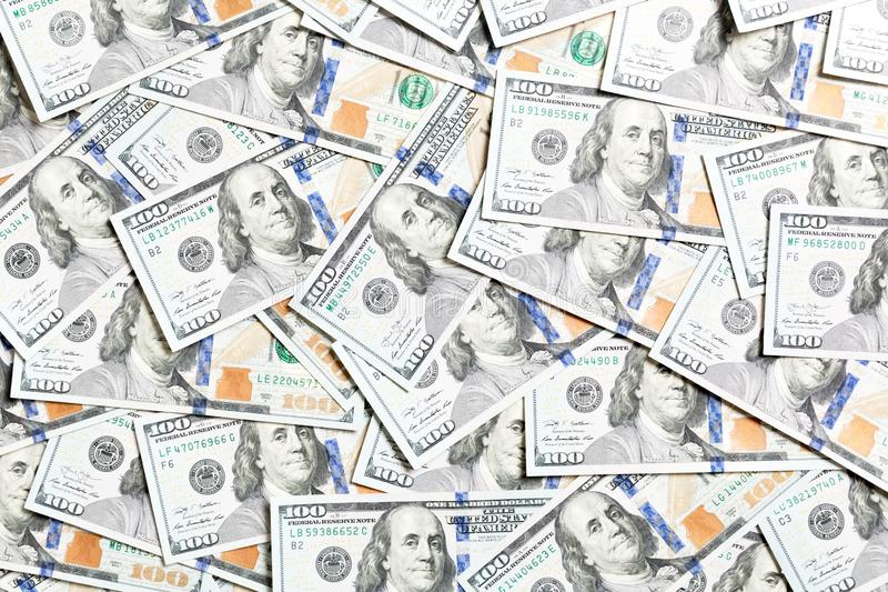 Top view of American money background. Pile of dollar cash. Paper banknotes concept.  royalty free stock photo