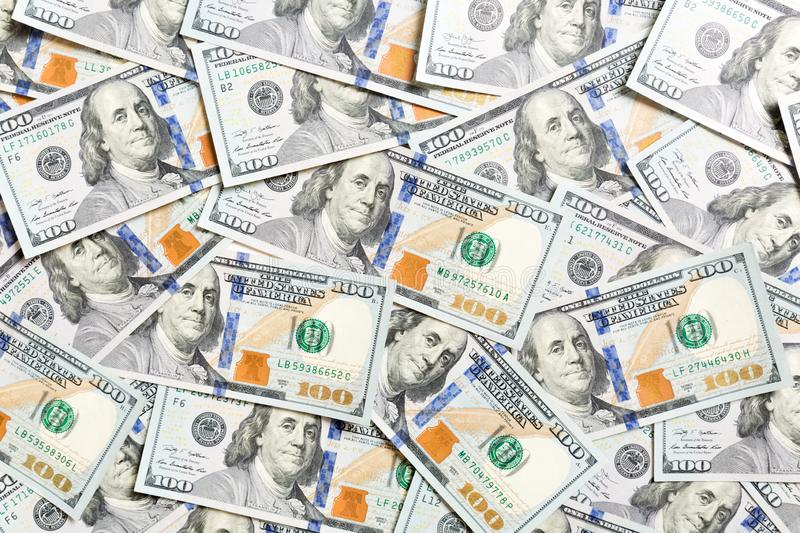 Top view of American money background. Pile of dollar cash. Paper banknotes concept.  stock images