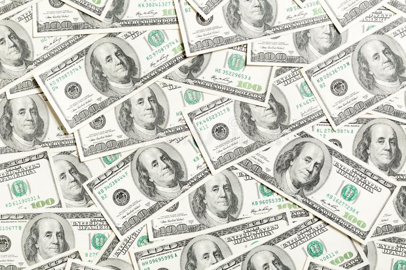Top view of American money background. Pile of dollar cash. Paper banknotes concept.  stock photo