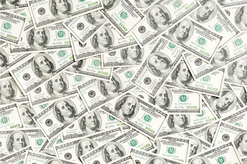 Top view of American money background. Pile of dollar cash. Paper banknotes concept.  royalty free stock image