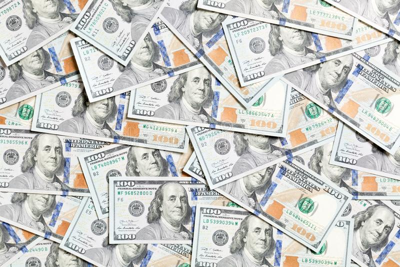 Top view of American money background. Pile of dollar cash. Paper banknotes concept.  royalty free stock images