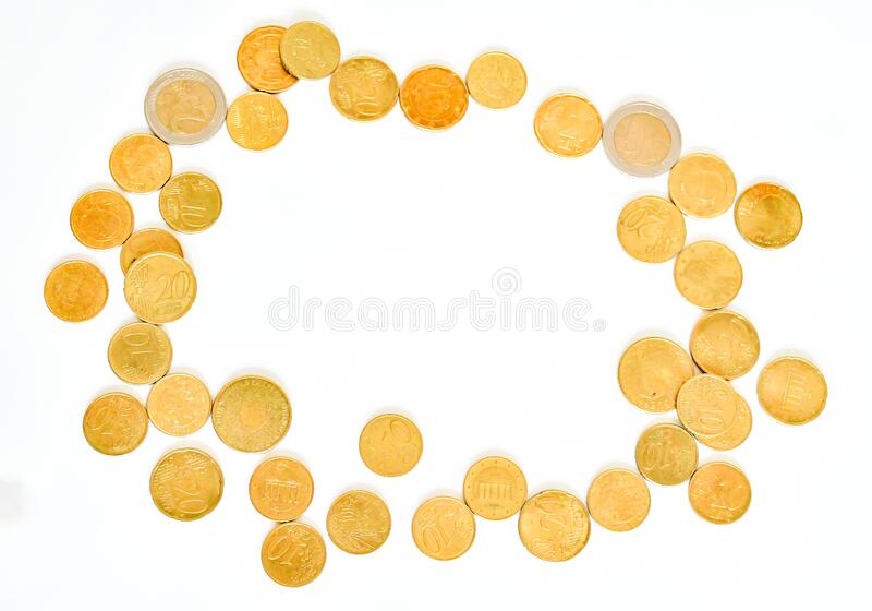 Top view amount euro coins in different price with space in middle on white background. Buisiness and finance conept. Selective. Focus, flat lay stock images