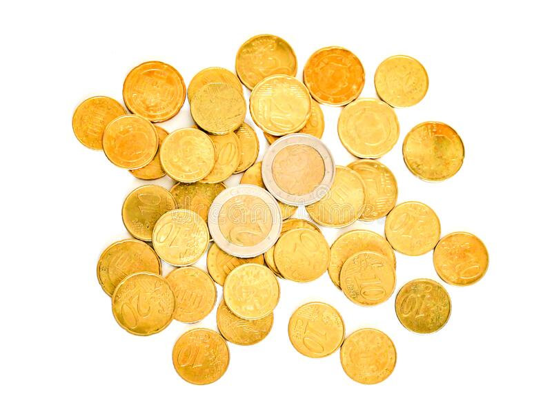 Top view amount euro coins in different price on white background. Buisiness and finance conept. Selective focus, flat lay. Top view amount euro coins in stock photography