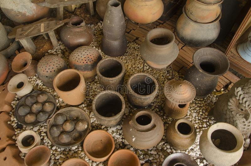 Top view of ancient tools of Thai people for daily life. Top view of ancient tools and kitchen wares of Thai people for daily life stock photography