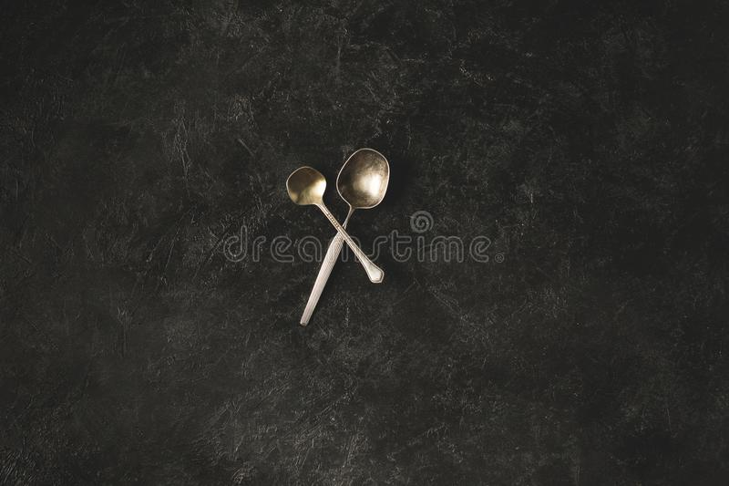Antique spoons royalty free stock photography