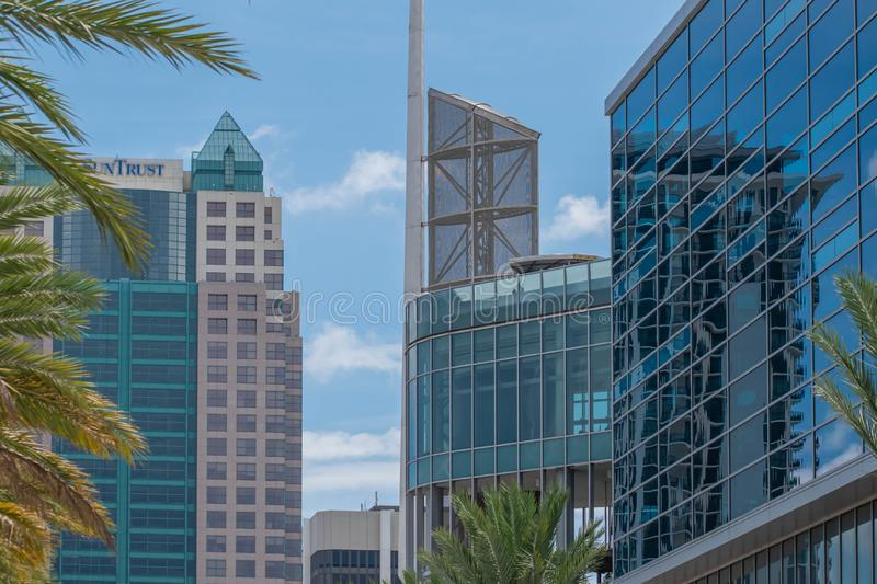 Top view of Anway Center and Suntrust building at downtown area 93. Orlando, Florida. August 17, 2019. Top view of Anway Center and Suntrust building at downtown stock photography
