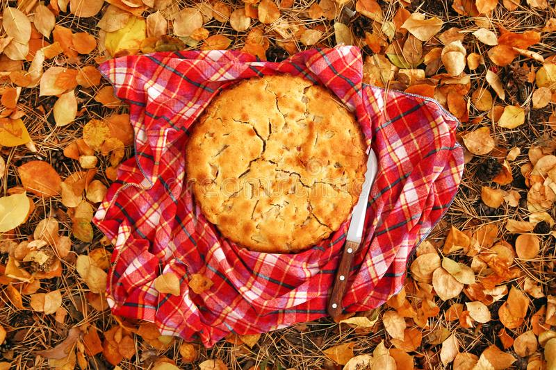 Top view on apple pie on the red checkered towel with knife on a background of yellow autumn leaves. Top view on apple pie on the red checkered towel with knife stock photo