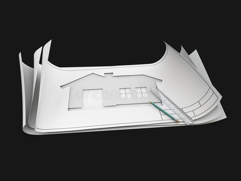 Top view of architect drawing on architectural project, isolated black, 3d Illustration stock images