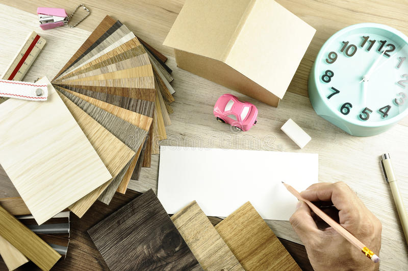 Top view of Architects & Interior designers hands working on tab royalty free stock image