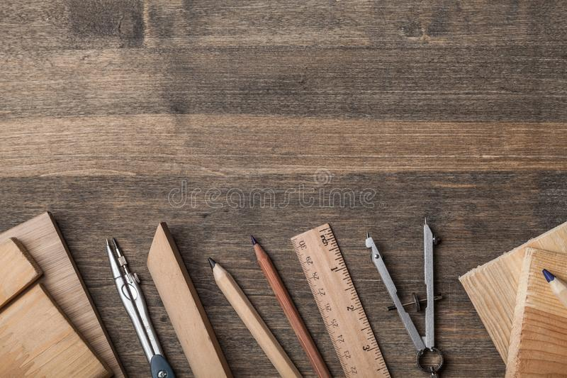 Top view of architects table royalty free stock photos