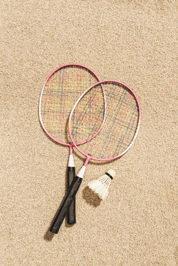 top view of arranged badminton rackets and shuttlecock stock photos