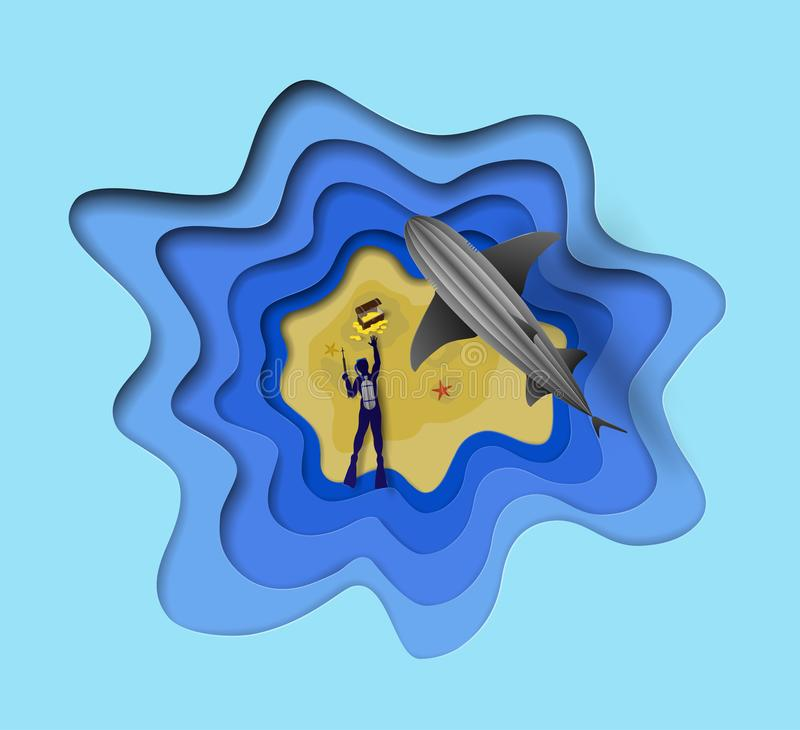 Top view of artistic vector sea diver with harpoon gun is trying to catch pirate box with gold coins and grey shark hunting around royalty free illustration
