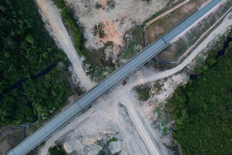 Top View Of Asphalt Road royalty free stock photo