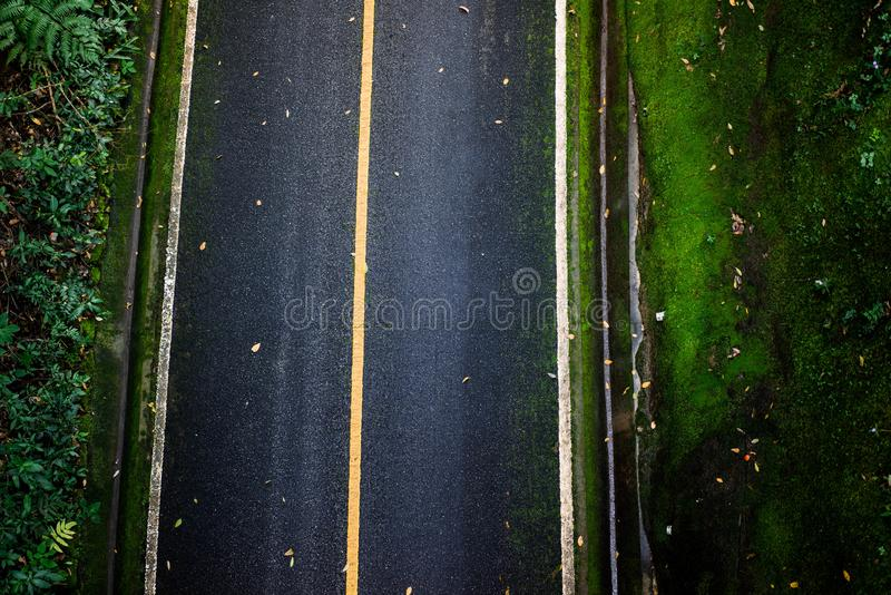 Top view of asphalt texture background. Empty road from top view. Asphalt road texture,yellow and white line on road Street Old Way Green royalty free stock photography