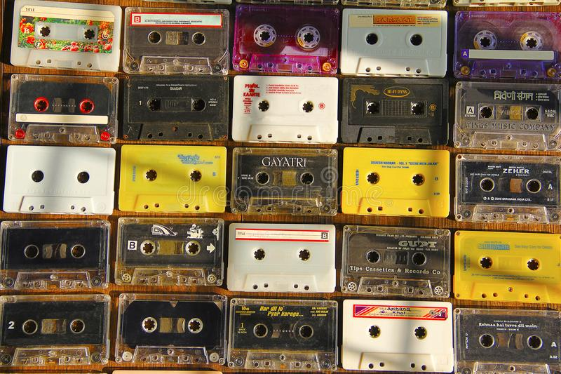 Top view of audio cassettes arranged in rows and columns stock photo