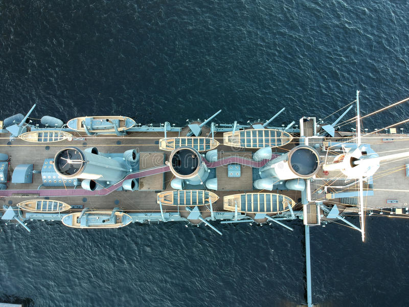 Aerial Top view of Aurora cruiser on the Neva river in Saint Petersburg royalty free stock photography