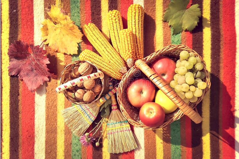 Autumn fresh fruits in a basket. Top view autumn composition with fresh fruits of various kinds stock photos