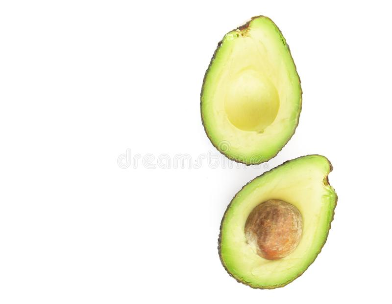 Top view avocado isolated on white background royalty free stock photo