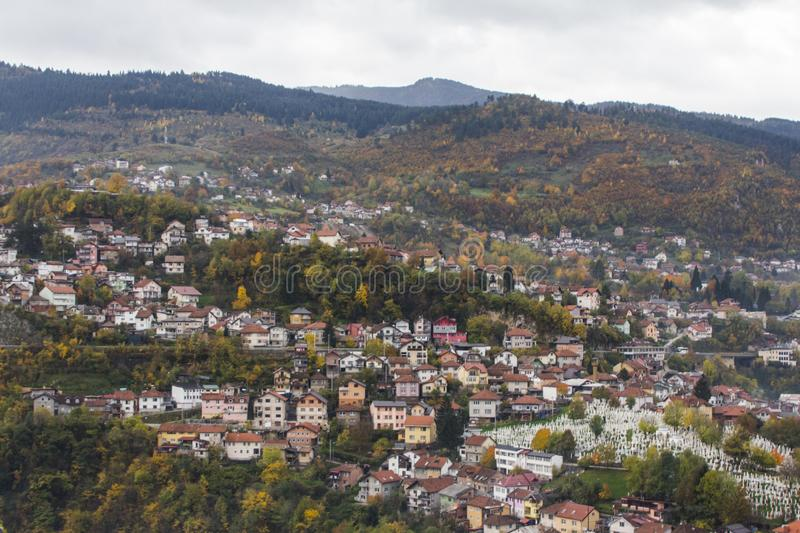 Top view of the Baščaršija is Sarajevo`s old district royalty free stock photography