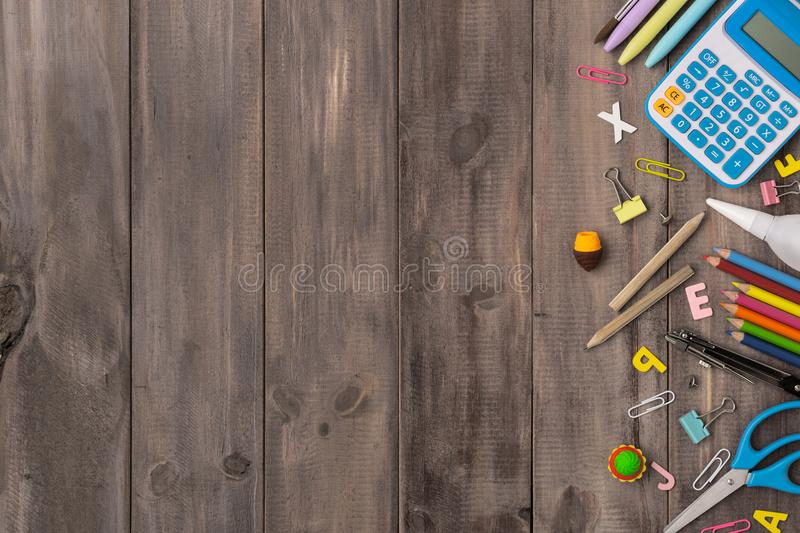 Top view back to school concept and education background concept stock images
