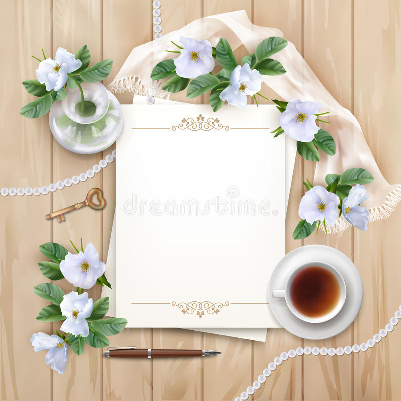 Top View Background with White Flowers. Vector white flowers, blank paper sheet, cup of tea, pen, silk scarf on wooden planked background. Top View composition royalty free illustration