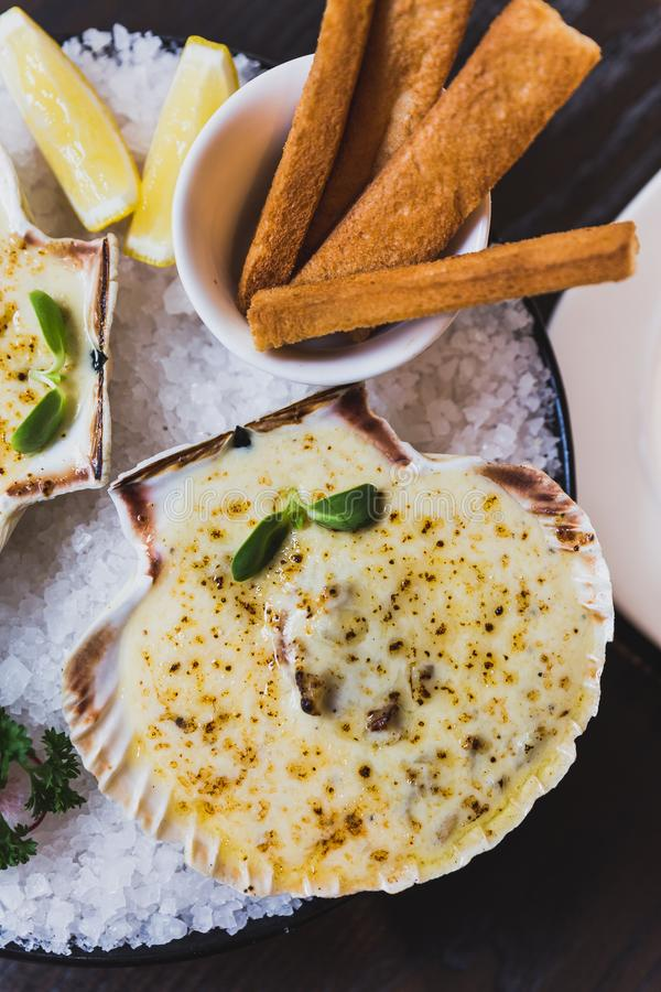 Top view of baked scallops with cheese served with sliced lemon and bread sticks on bowl with full of sea salt stock photo
