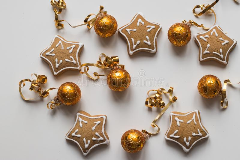 Top view of Baking Homemade Christmas Cookies and golden balls stock photo