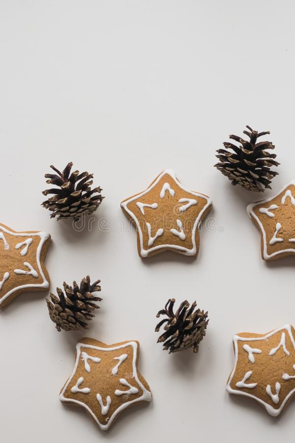 Top view of Baking Homemade Christmas Cookies and pine cones stock image