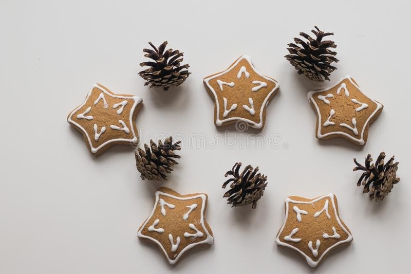 Top view of Baking Homemade Christmas Cookies and pine cones stock photo
