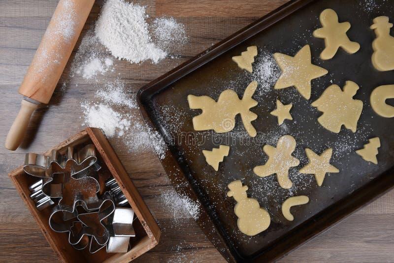 Making Christmas Shaped Sugar Cookies royalty free stock images